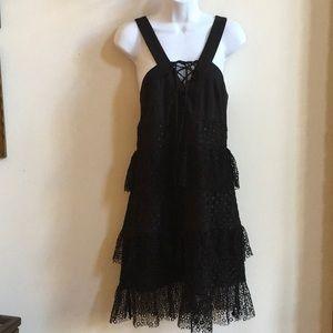 Tahari Black Tiered Crocheted Lace Dress SIze 12